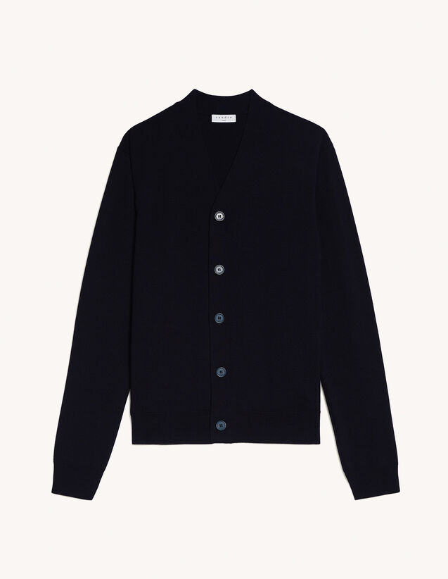 Wool Cardigan : Sweaters & Cardigans color Navy Blue