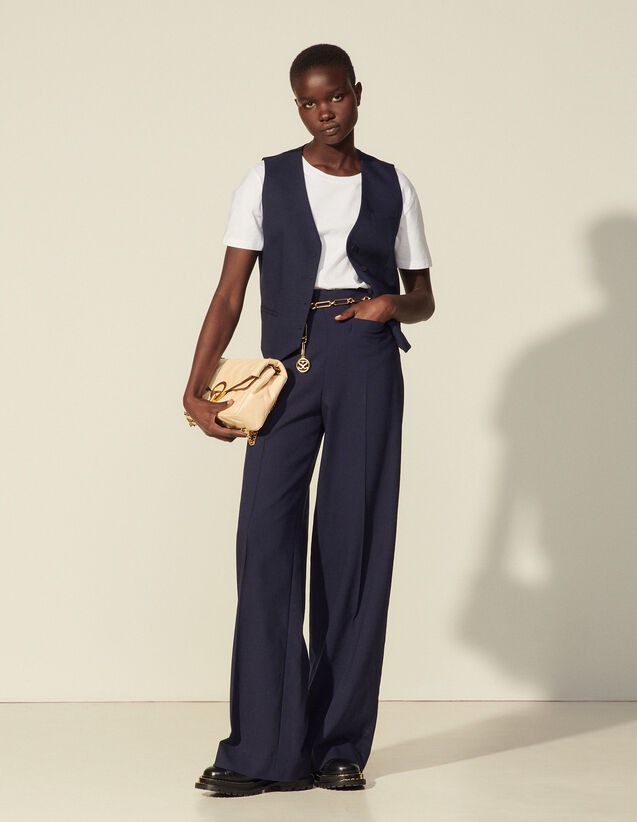 High-Waisted Viscose Trousers : Pants color Navy Blue