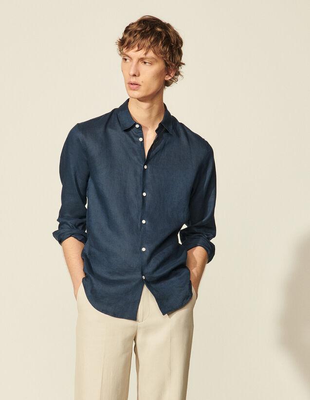 Linen Shirt : Shirts color Navy Blue