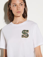 T-Shirt With Tweed S Patch : T-shirts color white