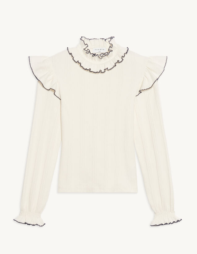 Knitted T-Shirt With Ruffle : T-shirts color Ecru