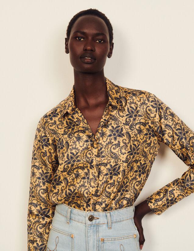 Floaty Printed Silk Shirt : Shirts color Gold / Blue