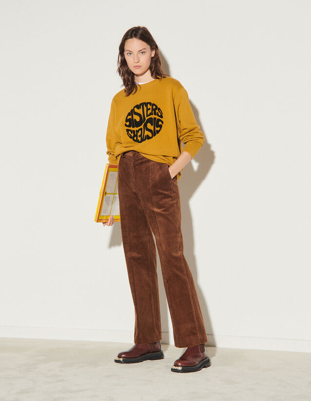 Corduroy Straight-Cut Trousers : Pants color Brown