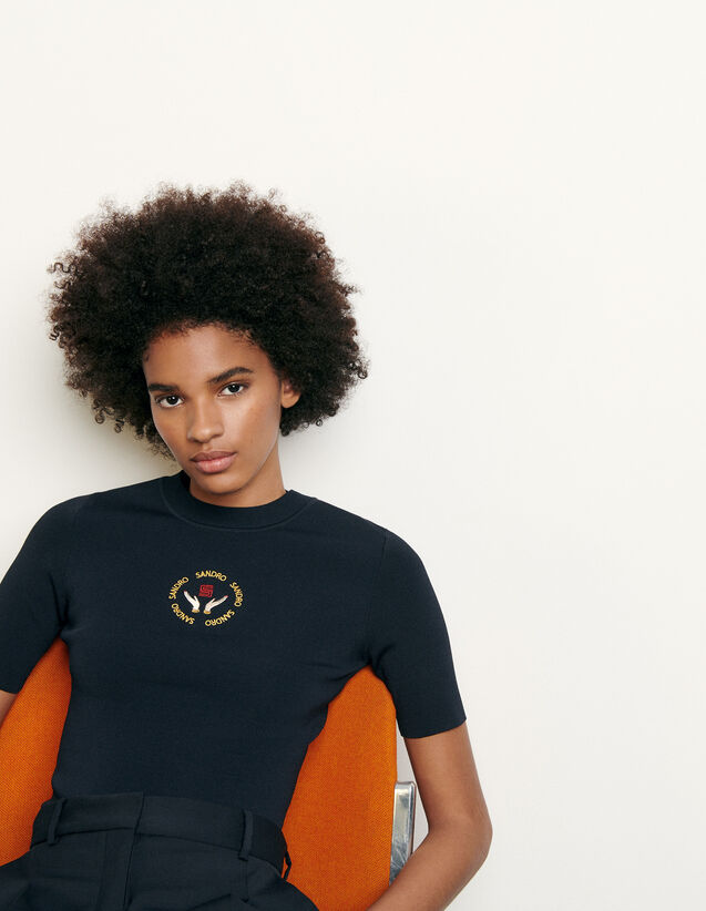 Knit Top With Embroidery : Tops color Navy Blue