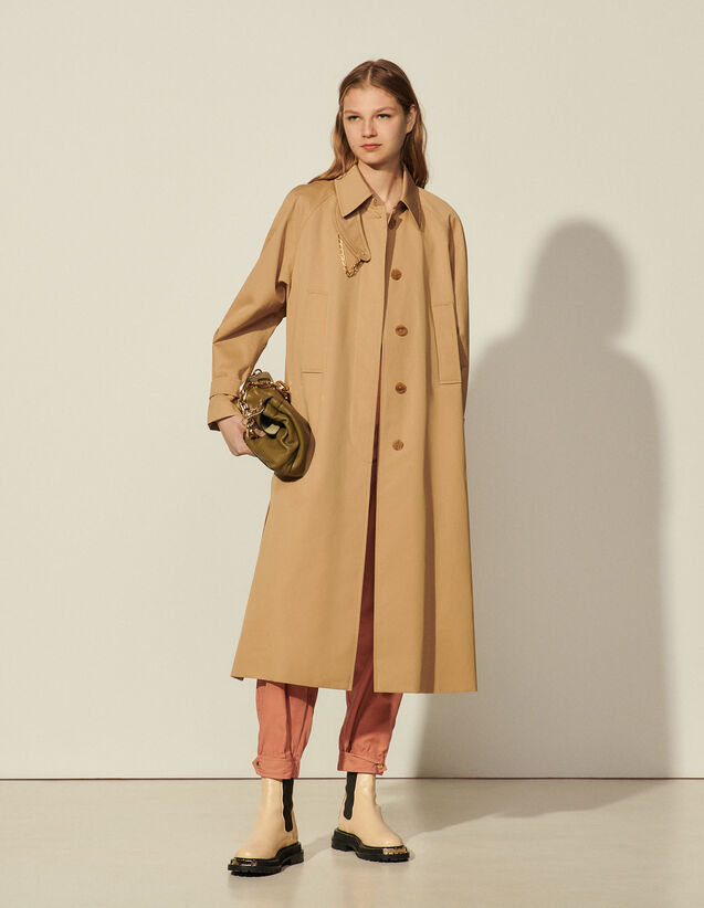 Cotton Trench Coat With Detachable Chain : Coats color Sand