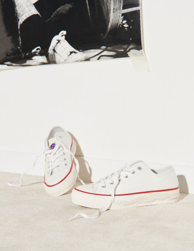 Canvas Trainers With Flame Sole : Trainers color white