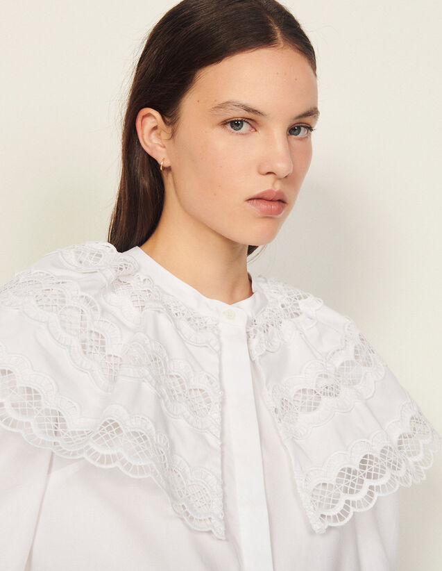 Poplin Shirt With Ruffle Collar : Shirts color white