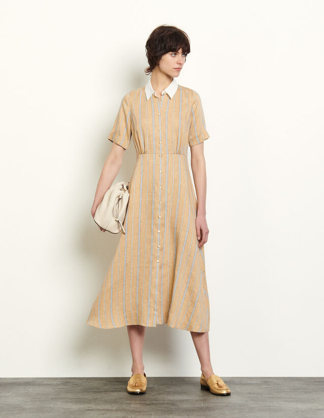 Long Striped Shirt Dress : Dresses color Beige / Blue