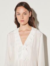 Silk Top With Pleat Edged Neckline : Tops color Ecru