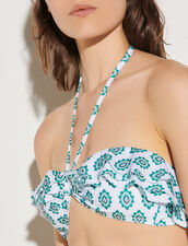 Printed Bikini Top : Swimswear color Green