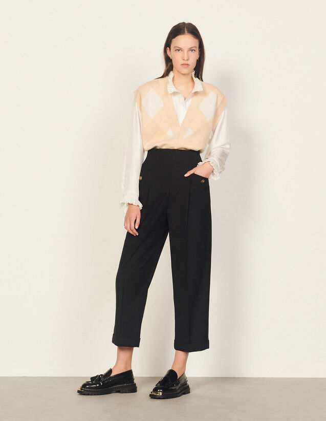 High-Waisted Trousers : Pants color Black