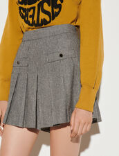 Short Skirt With Houndstooth Pattern : Skirts & Shorts color Black / White